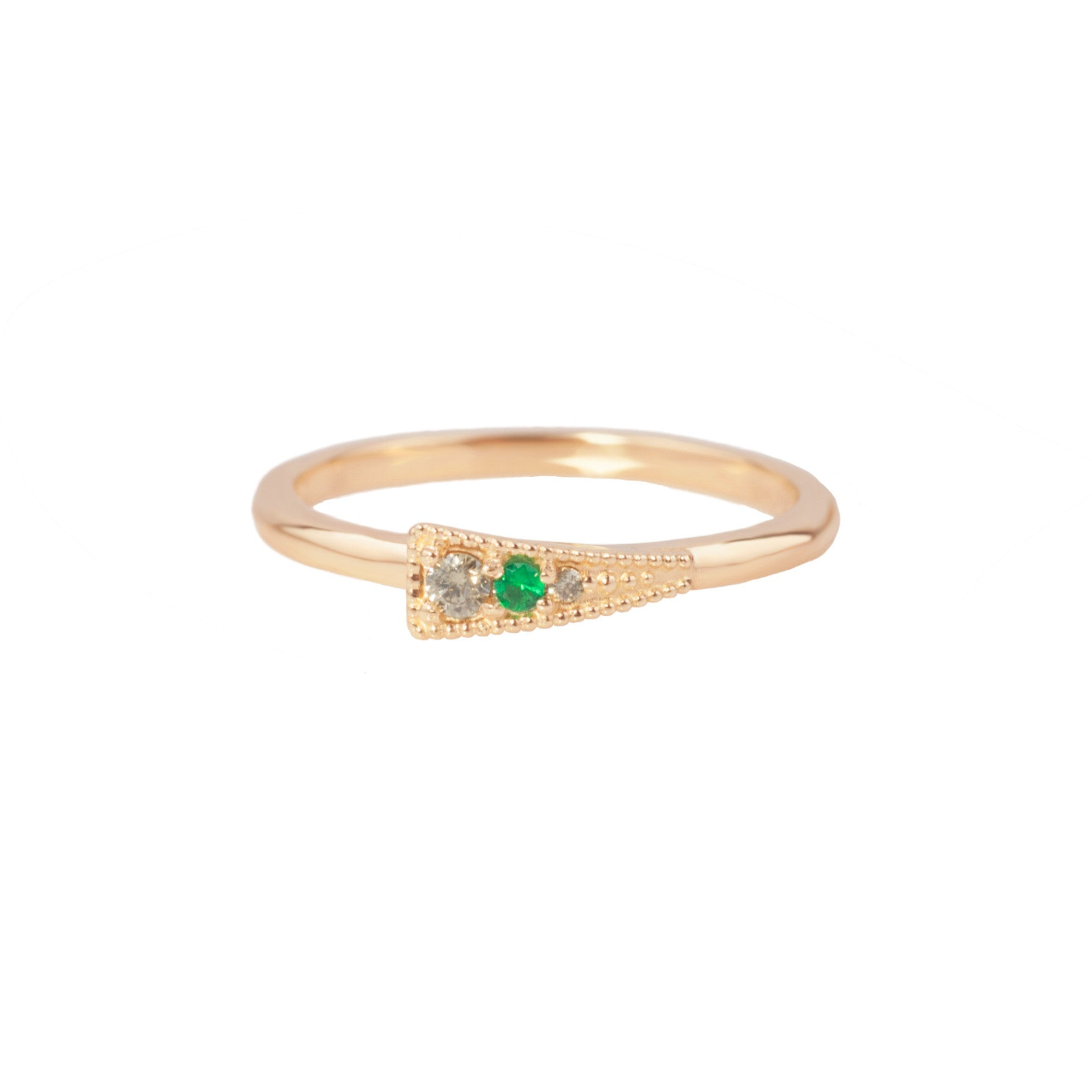 EMERALD + DIAMOND ARROWHEAD RING