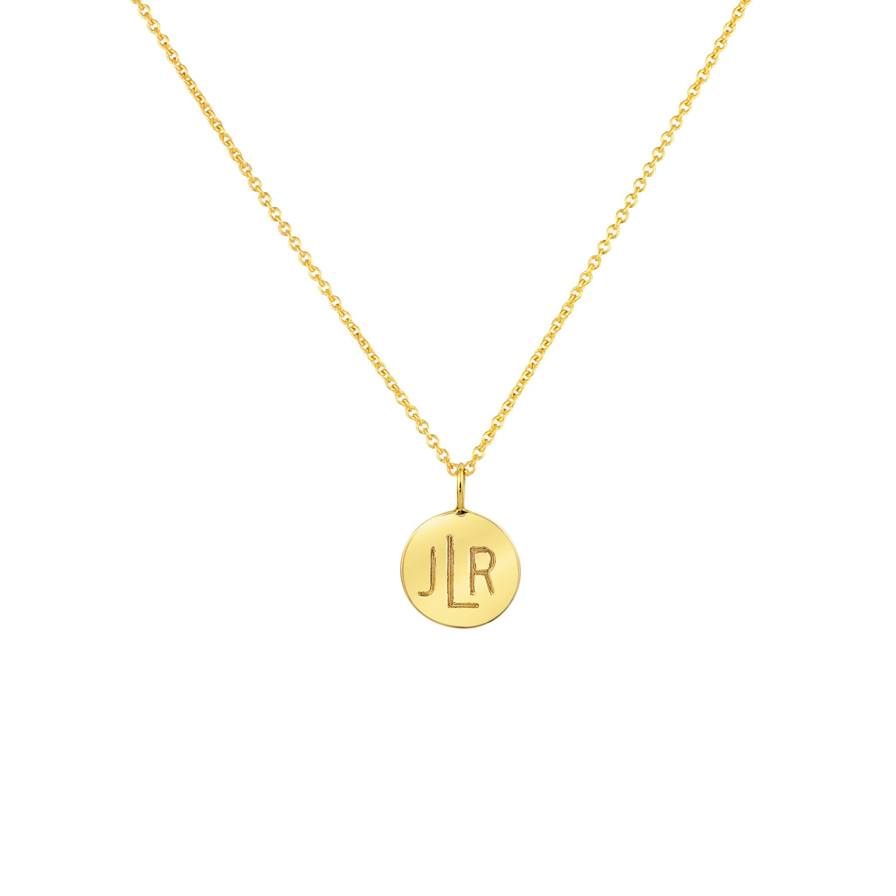 LARGE CIRCLE MONOGRAM NECKLACE 14K