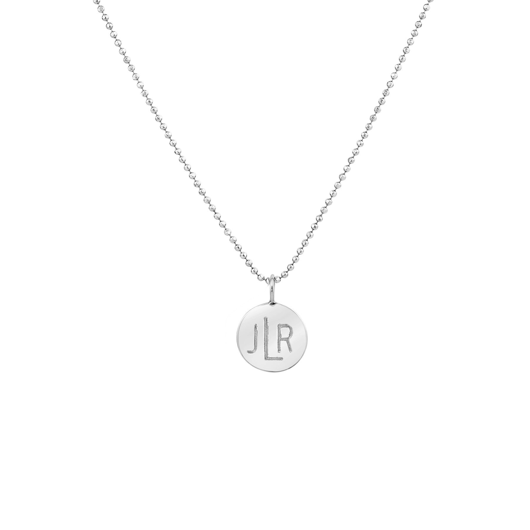 LARGE CIRCLE MONOGRAM NECKLACE STERLING SILVER