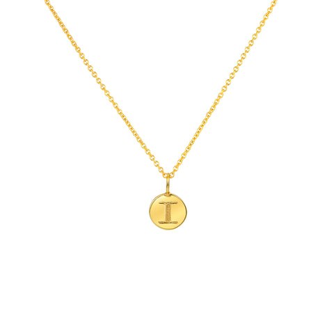 PETITE CIRCLE LETTER NECKLACE 14K