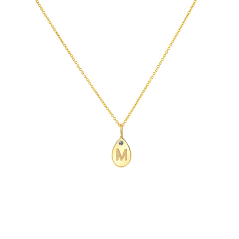 TEARDROP LETTER NECKLACE 14K WITH DIAMOND