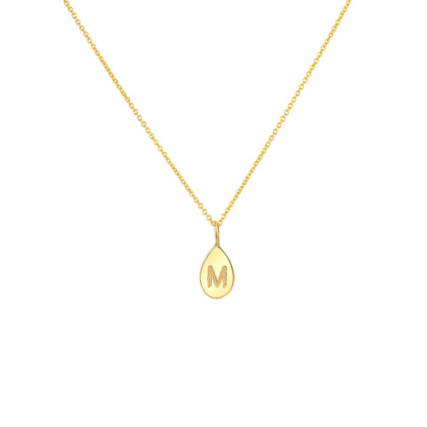 TEARDROP LETTER NECKLACE 14K