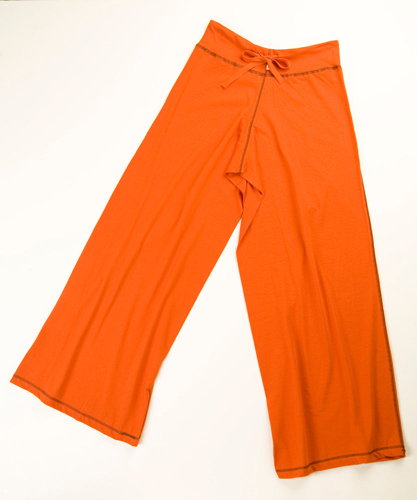TwOOwls Orange/Brown Womens Wide Leg Pant -100% organic cotton