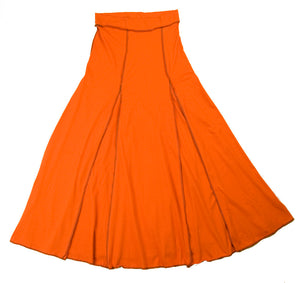 TwOOwls Orange/Brown Womens Flair Skirt -100% organic cotton