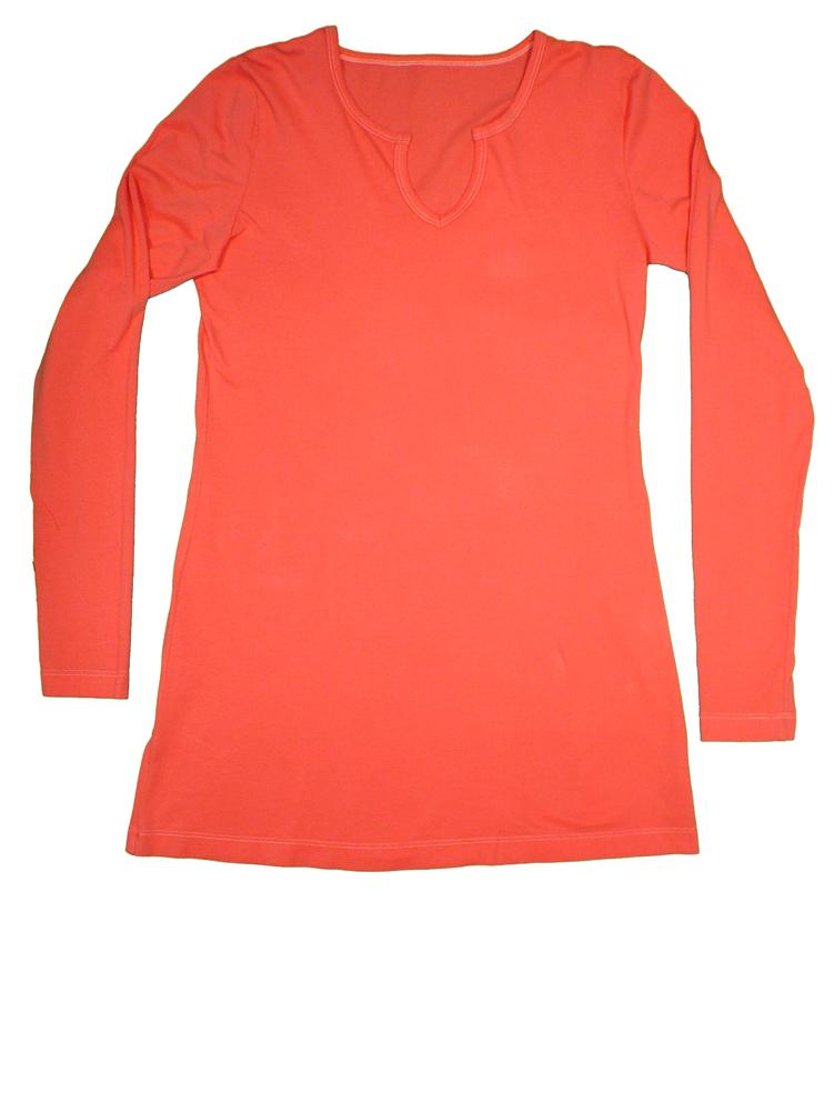 TwOOwls Red/Coral Women's Long Sleeve Tee -100% organic cotton-Made in the USA