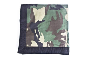 TwOOwls Green Camo Blanket with Black Silk edges-One size-Made in the USA