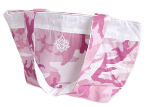 TwOOwls Pink camo Large bag with white silk and lotus-One size-Made in the USA