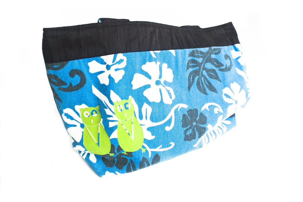 TwOOwls Blue Hawaiian large bag with black silk and green owls-One size-Made in the USA