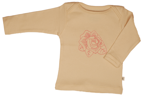 TwOOwls Natural/Pink Rose Long Sleeve Tee -100% organic cotton