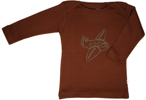 TwOOwls Brown/Blue Airplane Long Sleeve Tee -100% organic cotton