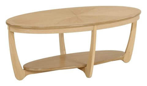 Nathan Shades Oak Sunburst Top Oval Coffee Table
