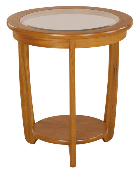 Nathan Teak Glass Top Round Table
