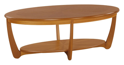 Nathan Teak Sunburst Oval Coffee Table