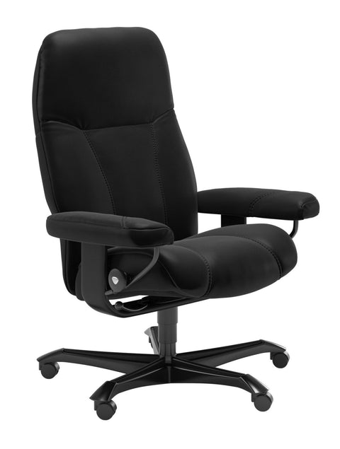 Stressless Consul Office Chair - Batick Black/Black Wood