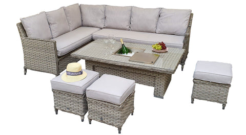 Olivia Corner Dining with Lift Table & Ice Bucket in 3 Wicker Special Grey Weave