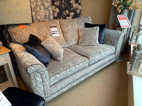 Fleming Fabric 2 Seat Sofa, chair & Footstool - EX SHOWROOM SET TO CLEAR