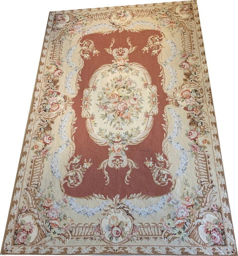 NEEDLE POINT AUBUSSON TAPESTRY RUG