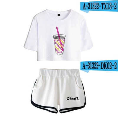 Ice Coffee Splatter Women's Two Piece Shorts + T-shirt