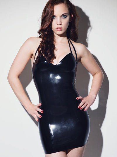 Double Strap Latex Dress Black