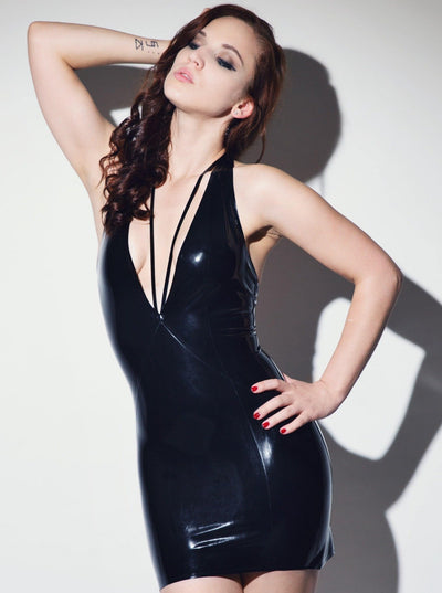 Deep V Dress Latex Rubber
