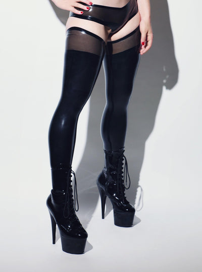 Futuriste Latex Stockings Black Transparent