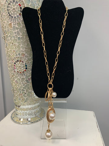 Long Gold Pearl Necklace