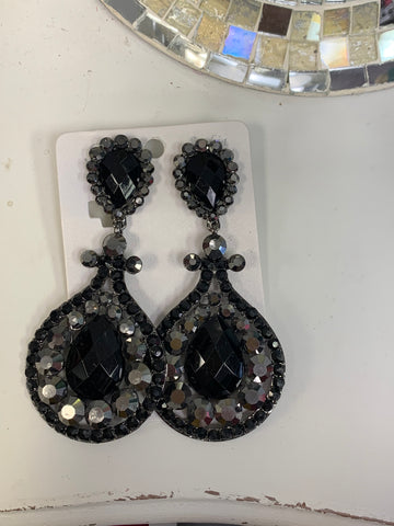 Black Bling Clip-On Earrings