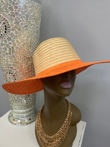 Orange Trim Straw Hat
