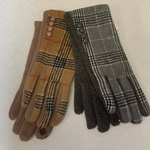 Plaid Print Smart Gloves (2 Colors)