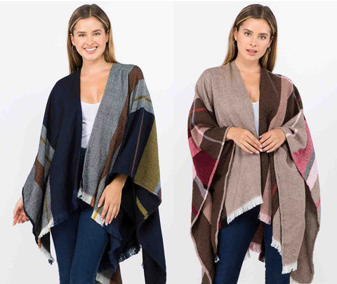 Reversible Ruana Wrap (2 Colors))