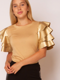 Ruffle Sleeve Tee - 4 Colors