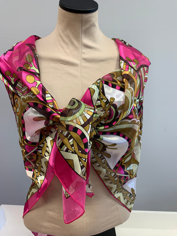 Pink Tan Silk Square Scarf