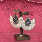 White Fringe Antique Earrings