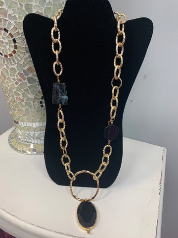 Black and Gold Marbled Necklace
