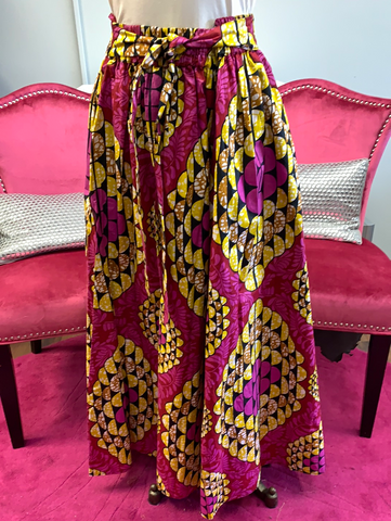 Ethnic Inspired Palazzo Pants - Fuchsia/Yellow