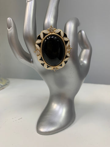 Cream and Black Bling Ring