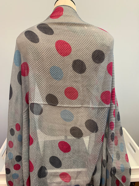 Pink Grey Dotted Scarf