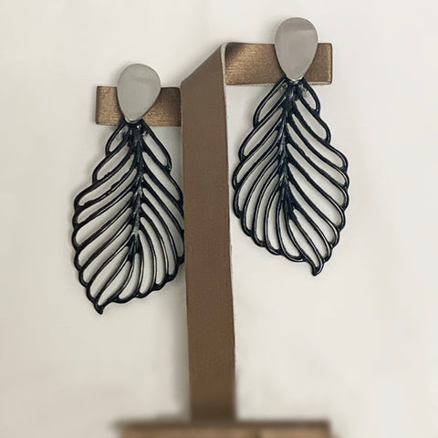 Black Leaf Clip-on Earrings