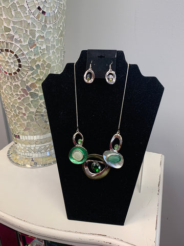Silver Green Jeweled Set
