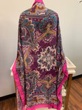 Large Squared Pink Paisley Scarf