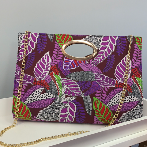 Large Purple Floral Clutch