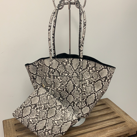 2-Piece Black/White Snake Tote