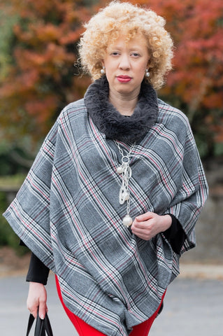 Fur Collar Plaid Poncho