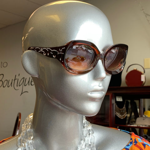 Brown Bling Sunglasses