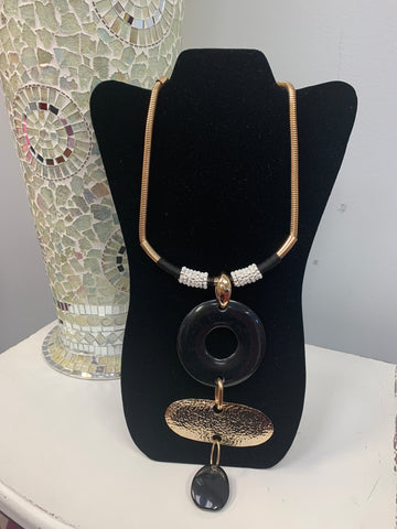 Black Gold Hammered Beaded Necklace