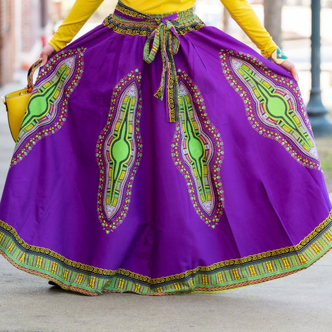 Ethnic Inspired Long Skirt - Purple/Green