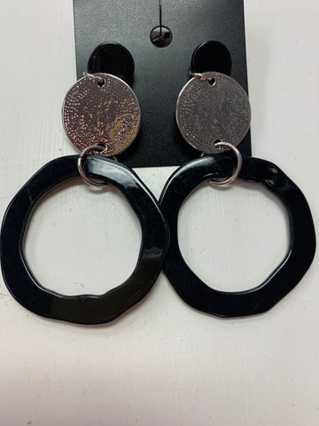 Black Silver Round Earrings