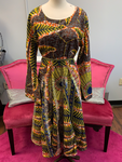 Ethnic Inspired Belted Dress - Yellow/Black