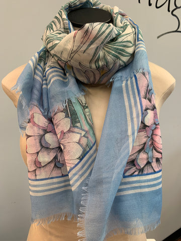 Blue Trim Scarf