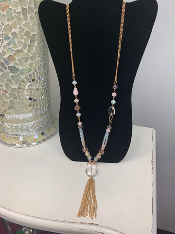 Pink Gold Tassel Necklace